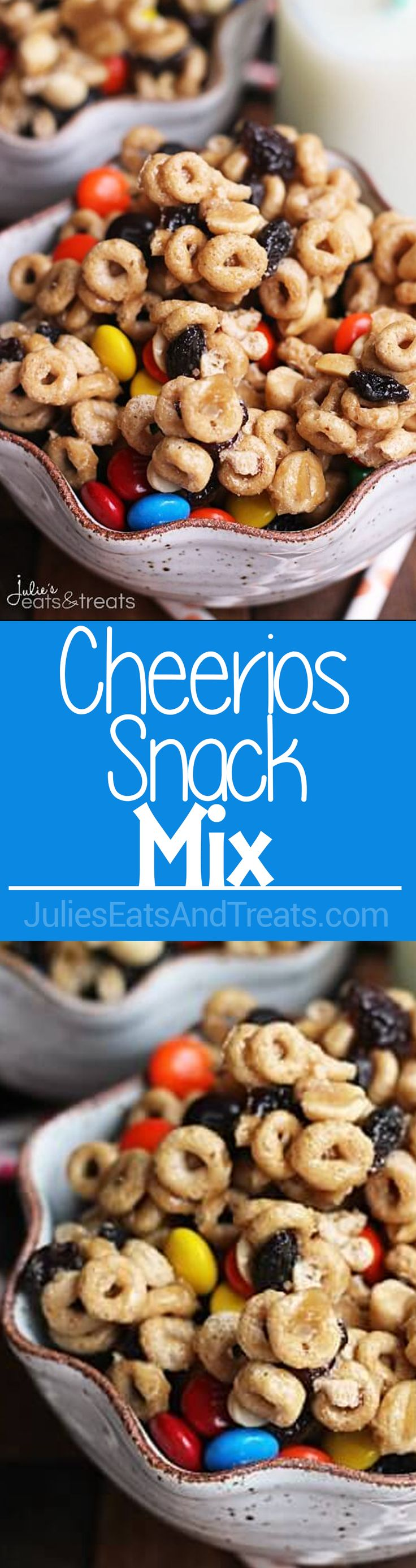 Cheerios Snack Mix ~ Easy, Sweet & Delicious Snack Mix Stuffed with Cheerios, Peanuts, Raisins & M&M's! via @julieseats