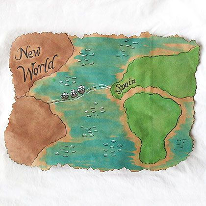 New World Map - Create a map to go along with learning about Christopher Columbus (This would go great with making Columbus Day hats and Telescopes and Compasses - then we could pretend to go on an overseas exploration)