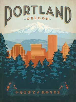 PortlandAmerican Travel, Art, Places, Prints, Vintage Travel, Travel Posters, Design Group, Anderson Design, Portland Oregon