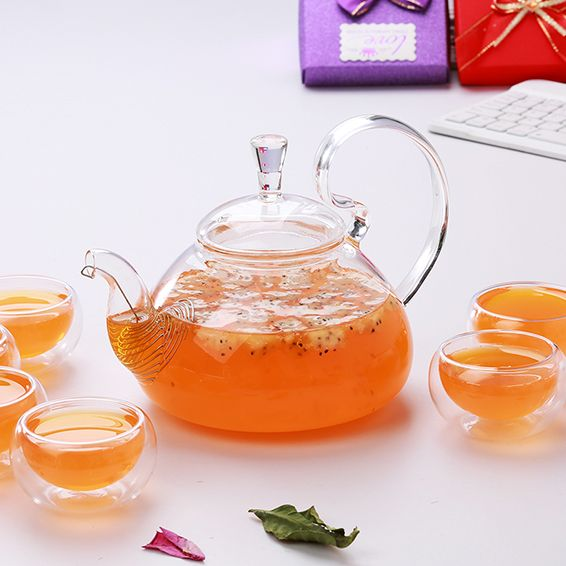 High handle pyrex glass teapot with infuser