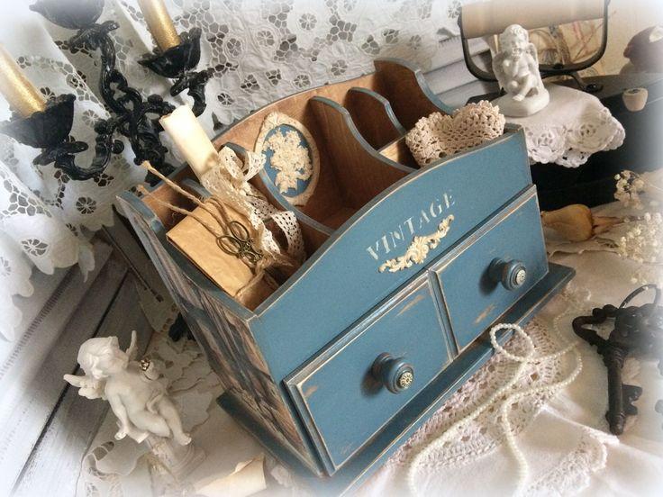 """Купить Комодик для косметики и украшений """"Vintage"""" - белый, бирюза натуральная, бирюзовый цвет, комод"""