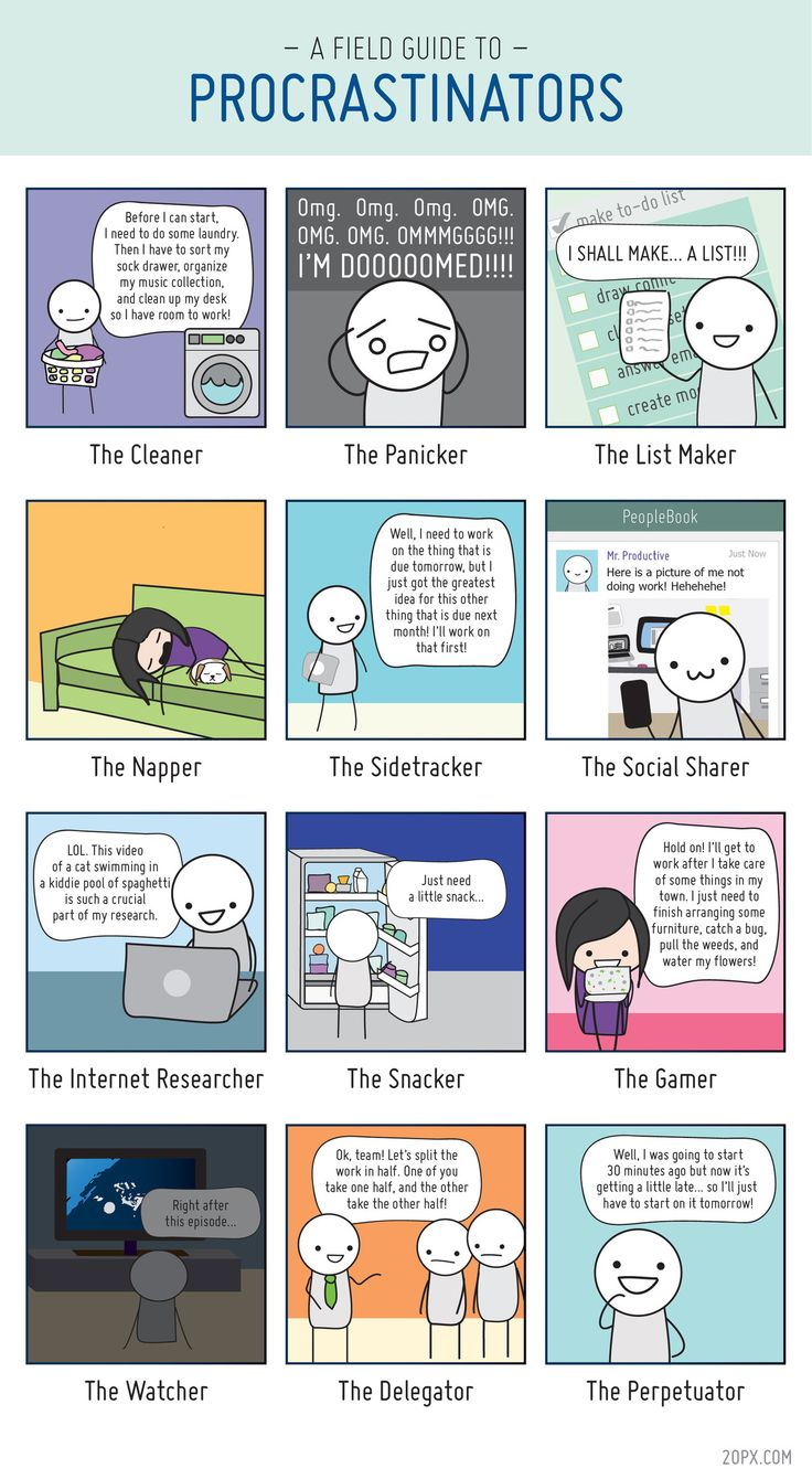 In this comic, Angela Liao of 20px identifies the 12 types of procrastinators, including the list makers, the nappers and the snackers.