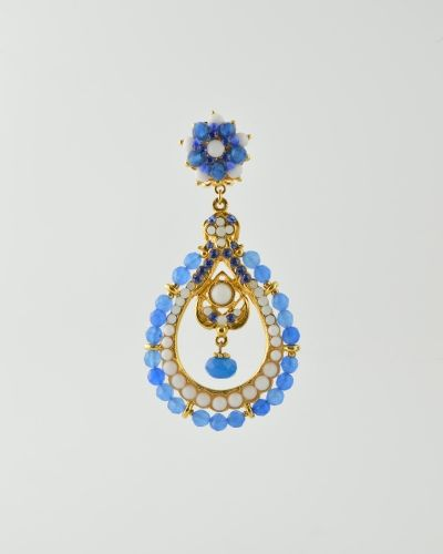 BLUE BEAD DROP HOOP: 24 Karat gold plated clip earring made with blue dyed faceted  jade beads , white glass stones and Austrian crystals. This is a clip earring Measuring 3 inches long and 1.5 inches at widest point. Get a 20% discount on this item with promo code: Olusegun683. $340