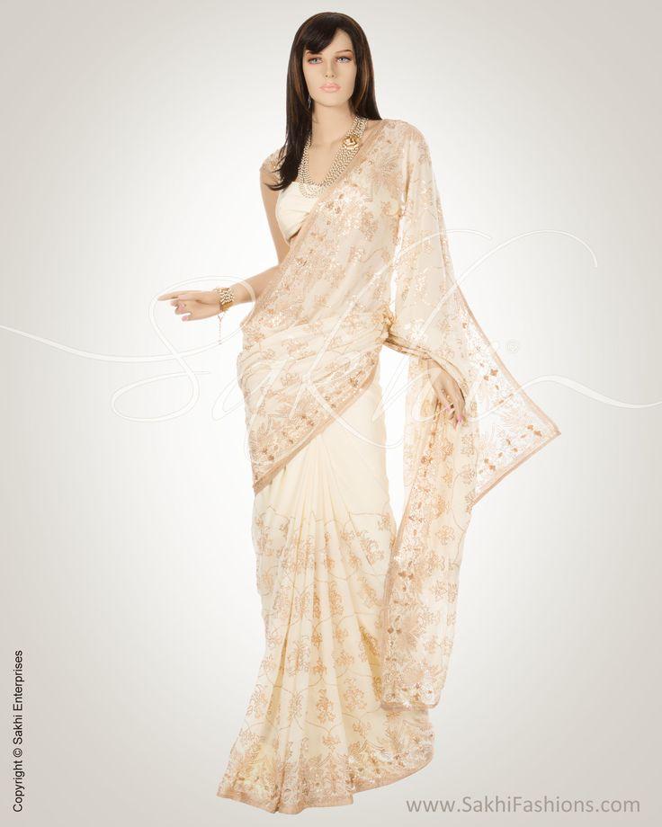 Cream & Gold Pure Georgette Saree | MSN-1640 | SakhiFashions | Sakhi Fashions (UK)