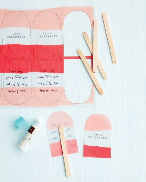 Retro-looking ice pops conjure sweet flashbacks -- and, in the form of invitations, set the tone for a summer party. Glassine and vellum papers give the cutouts a frosty, fresh-from-the-freezer look.
