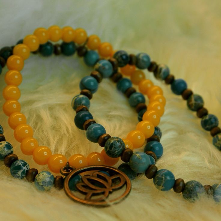 Sea sediment Jasper malabead bracelet and lotus flower charm