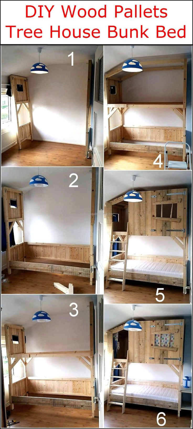 Bunk bed is great to place in the kid's room because it saves the space as well as it keeps the kids happy that they have something unique in their room. There are many styles of bunk beds available in the furniture stores, but why not to save the money when a person can create a bunk bed at home with an innovative design. We are going to show an idea to create DIY shipping pallet tree house bunk bed which will not only allow the space to sleep, but also space to play and store the toys.