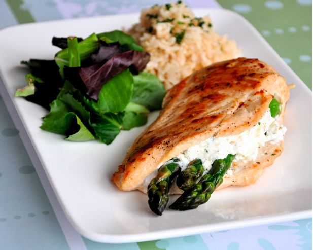 Asparagus & Goat Cheese Stuffed Chicken - made it and loved it! (sidenote: it is A LOT better with regular chicken broth and a bit of garlic salt)