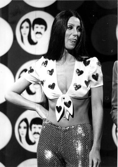 """Cher on the TV show """"The Sonny And Cher Comedy Hour"""", 1974."""