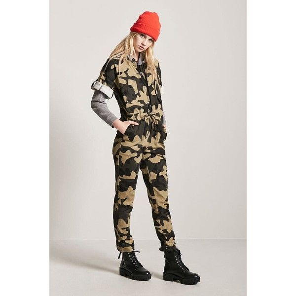 Forever21 Camo Button Front Jumpsuit 58 Liked On Polyvore