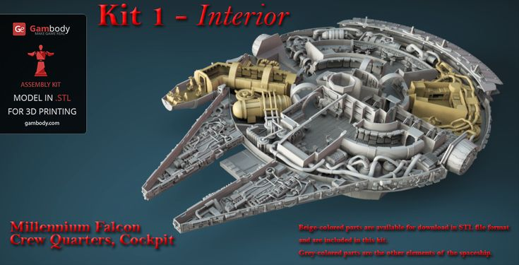 Order Kit 1 of Star Wars Millennium Falcon Engine, Cockpit, and Crew Quarters of high detail design. Start assembling the interior of Falcon spaceship.#starwars #3dprinting #millenniumfalcon