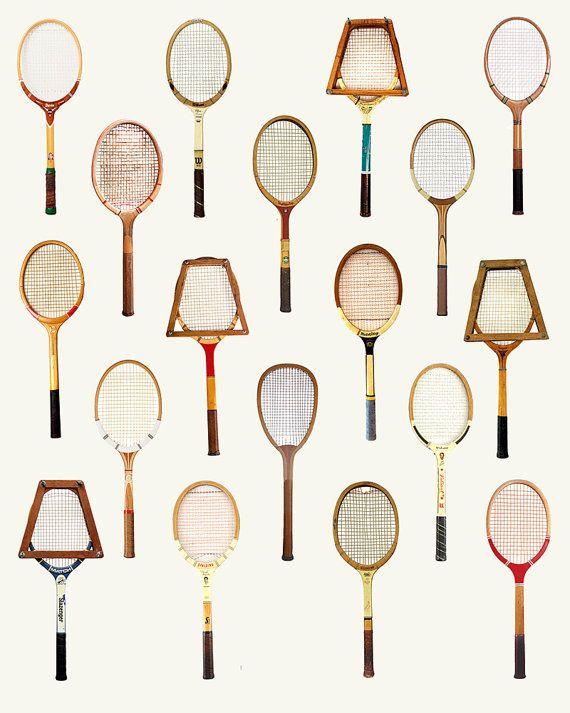 Vintage Tennis Racquet Poster Art Wall Print by PigeonStudios