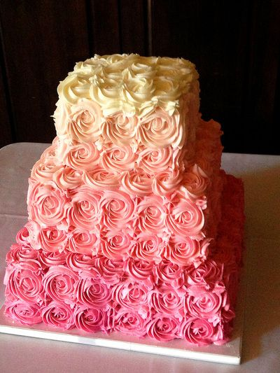 square wedding cake with red roses bakery pink ombre roses square cake pams fav 20439