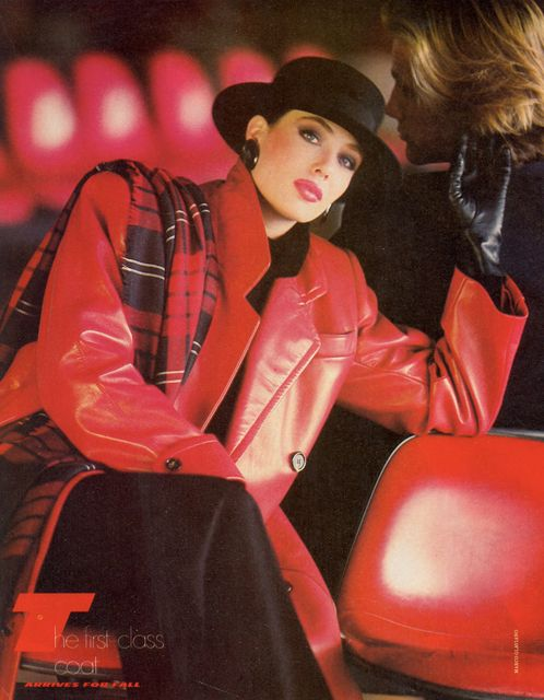 Kelly LaBrock -The hat, the gloves, the leather, the shoulder pads -the total look.