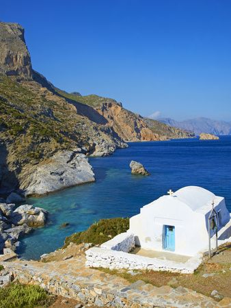 Beach and Church, Agia Anna, Amorgos, Cyclades, Aegean, Greek Islands, Greece, Europe