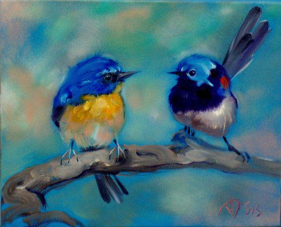 Little bird painting oil Original art Made to by ARTbyRumbetix