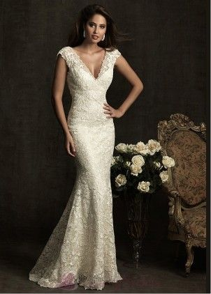 $547.19 Elegant Exquisite Lace Mermaid V-neck Wedding Dress W1956