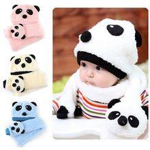 În timpul iernii, băiat cald fată drăguță stil Panda pălărie capac Beanie Esarfe Set 4 culori (China (continentală))