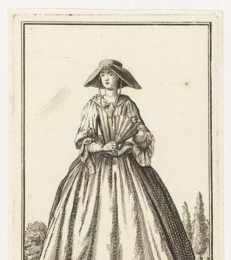 Vrouw met hoed en waaier, Adolf van der Laan, ca. 1710 - 1755 - Rijksmuseum