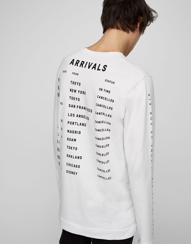 Long sleeved graphic T-shirt - T-shirts - Clothing - Man - PULL&BEAR United Kingdom