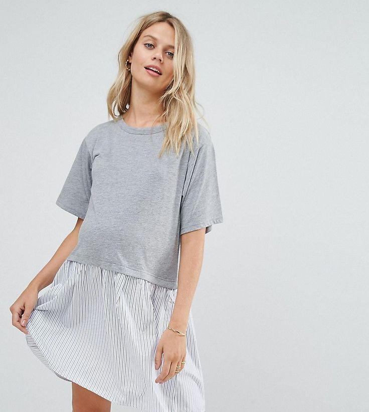 ASOS Maternity T-Shirt Smock Dress with Woven Frill Hem - Gray