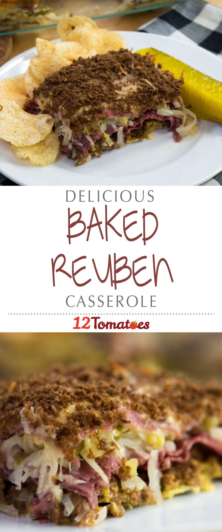 Oven-Baked Reuben Casserole | Filled with rye bread cubes, your choice of pastrami or corned beef, sauerkraut, pickles and Thousand Island dressing, this casserole tastes just like our favorite hot sammy!
