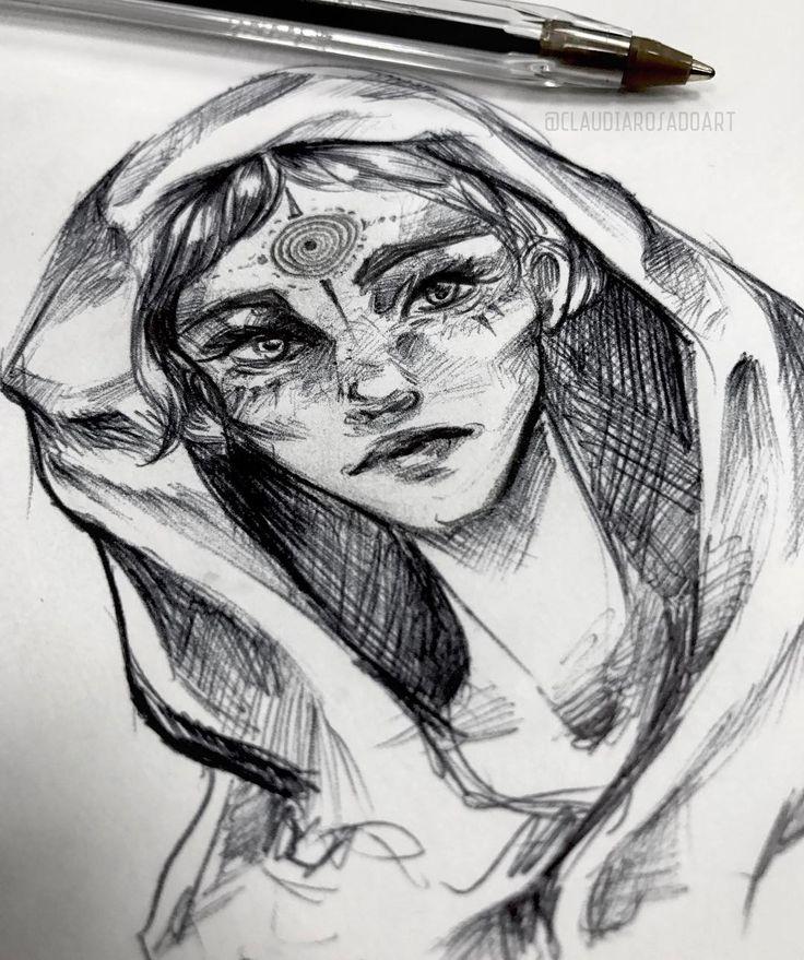 "343 Me gusta, 6 comentarios - Freelance Illustrator (@claudiarosadoart) en Instagram: ""Pen sketch, a little warm up. Tomorrow I will be doing another live art performance in Barcelona 💕…"""