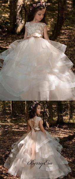 Lovely Lace Top Tulle Ball Gown, Open Back Flower Girl Dresses