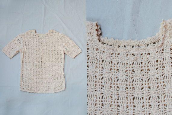 Maglione donna vintage lavorato ai ferri anni 70 color panna misura M maglione con manica corta Idea regalo per lei