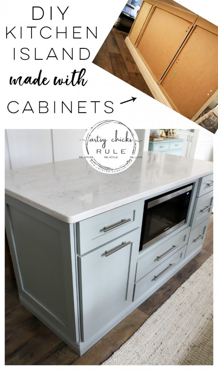 Diy Kitchen Island Makeover Made With Big Box Store Cabinets