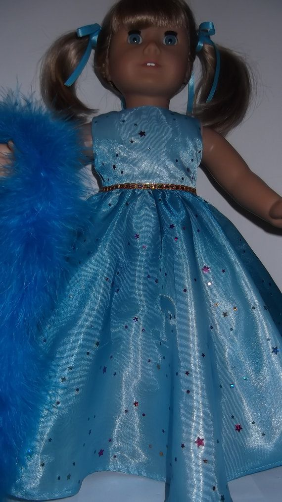 American Girl doll clothes – Turquoise Gown with Boa – #230