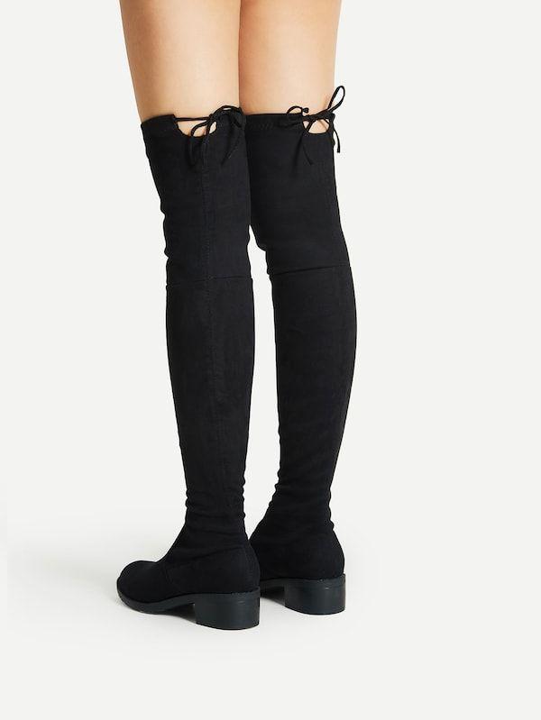 91d45a3448 Lace Up Detail Block Thigh High Heeled Boots -SheIn(Sheinside ...