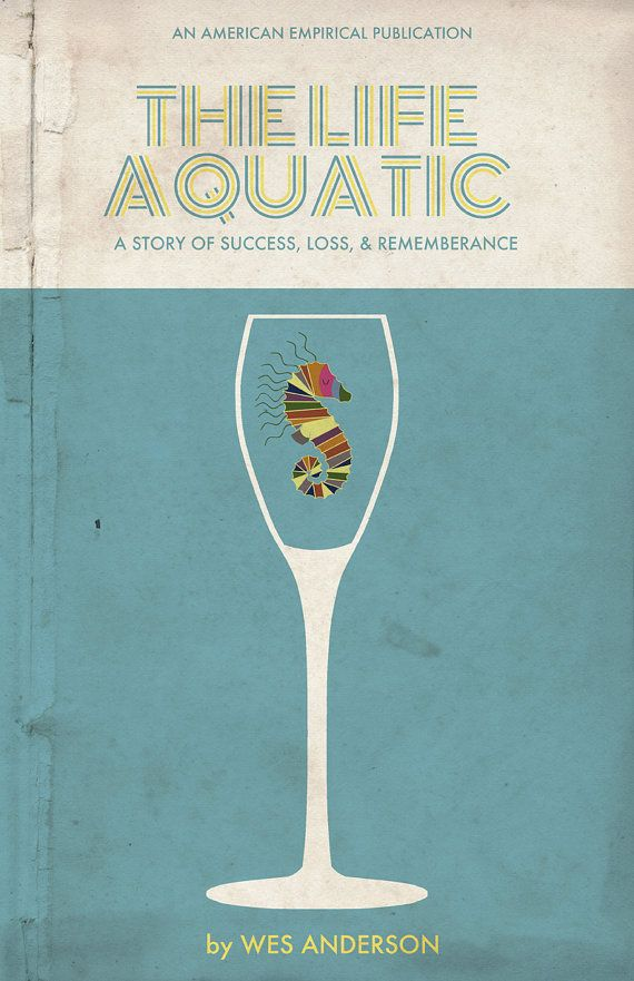 "Vintage book cover aesthetic // ""The Life Aquatic"" Movie Poster"