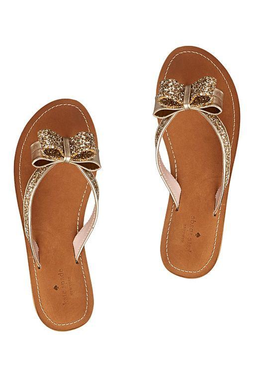 Kate Spade Glitter Bow Flip Flops
