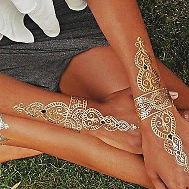 1PC Gold and Silver Necklace Bracelet Tattoos Temporary Tattoos Sticker Cuticle Tattoos Flash Tattoos Party Tattoos - USD $ 2.99