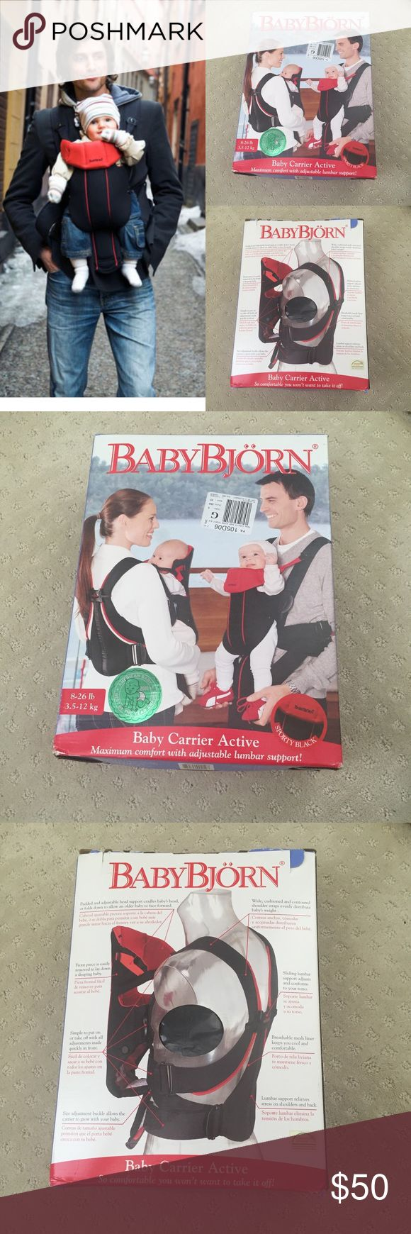 Baby Bjorn active baby carrier new in box New in box. Holds baby 8-26lbs. Is a 360 baby carrier you can chose to carry the baby forward or backward Baby Bjorn Accessories