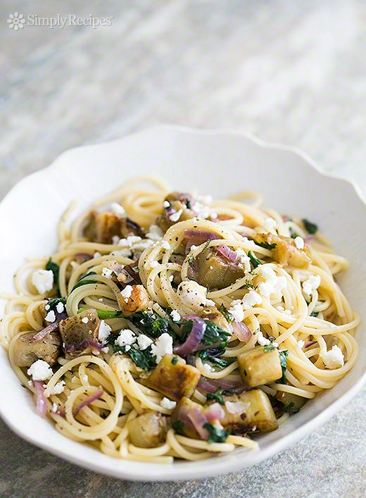 Pasta with Eggplant, Feta, and Mint ~ Sautéed cubed eggplant with onions, garlic, spinach, mint, tossed with spaghetti pasta and feta ~ SimplyRecipes.com