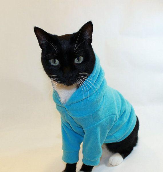 turquoise microfleece cat hoodie fleece cat hoodies cat