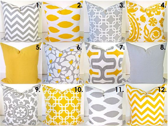 Sale Yellow Pillow Covers SELECT ANY SIZE Gray Decorative Throw Pillows  18x18 Yellow Throw Pillow Covers pillow shops Home and Living