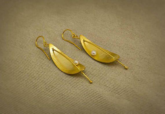 Silver Earrings Handmade Freshwater Pearls Long Earrings