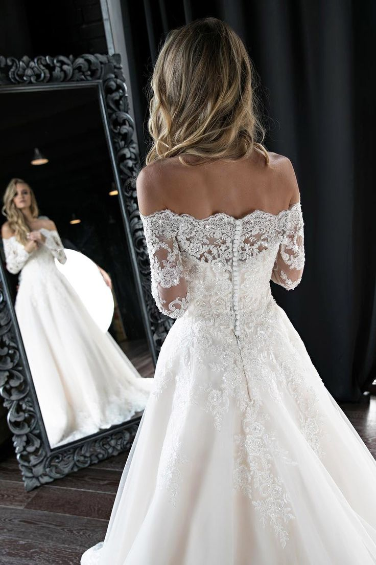 Long Sleeves Off the Shoulder White Lace Wedding Dress