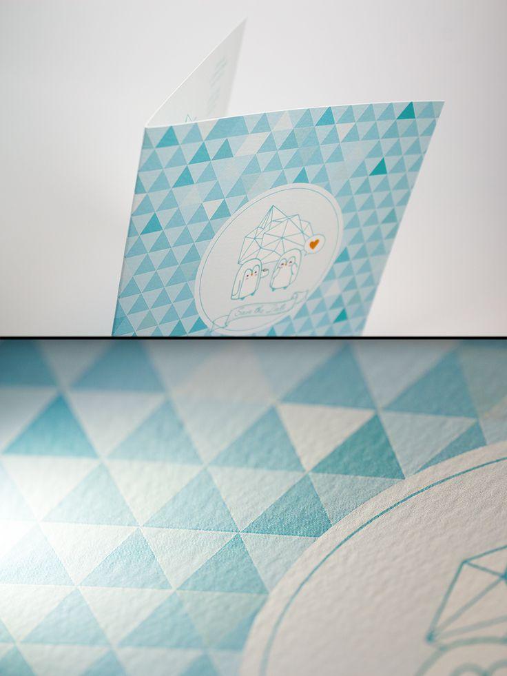 Faire-part 2 volets au format 15x15cm (15x30cm ouvert) / Impression quadri sur papier Tintorreto Gesso 300gr #carterie