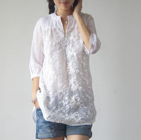 2016 New Retro Women Summer Style Elegant Casual Embroidery Long White Blouse Shirts Original Robe Plus Size Loose Tops € 11,84