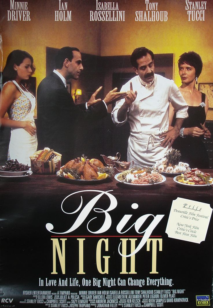 A failing Italian restaurant run by two brothers gambles on one special night to try to save the business.  Very funny with lots of good looking food.