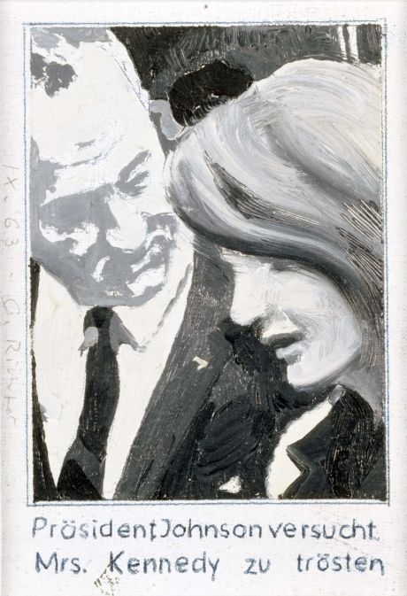 Präsident Johnson versucht Mrs. Kennedy zu trösten (President Johnson consoles Mrs. Kennedy) 1963, 12.7 cm x 8.9 cm, Oil on canvas mounted on card
