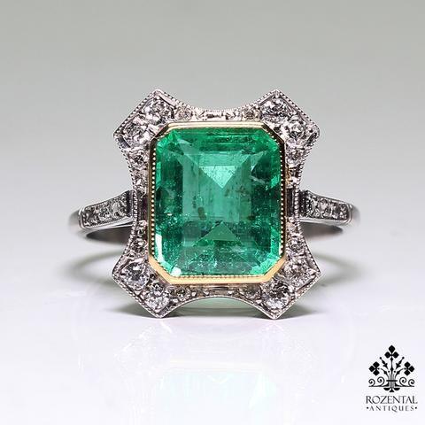 Antique Art Deco Platinum Diamond & 3ct. Emerald Ring