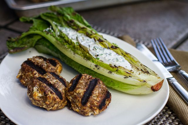 Grilled Meatballs with Grilled Romaineg