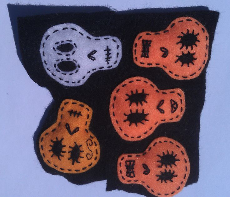Felt skull badges in the process of being stitched.
