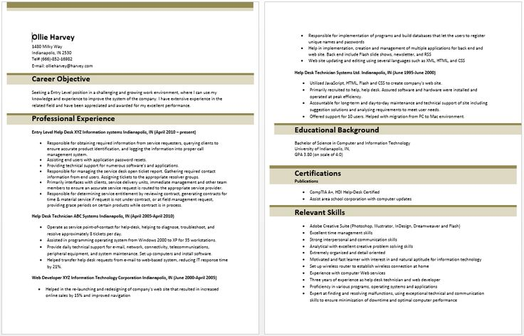 Entry Level It Information Technology Resume Sample Resume Template Entry Level Resume Entry Level Sample Resume Templates