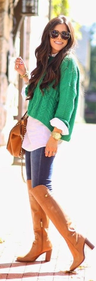 Women's Green Knit Cropped Sweater, White Dress Shirt, Navy Skinny Jeans, Tobacco Leather Over The Knee Boots